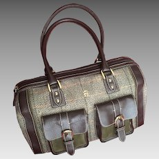 Vintage Etienne Aigner Moss Green Tweed and Leather Fall Bag