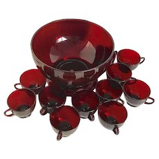 Vintage Anchor Hocking Royal Ruby Red Christmas Punch Bowl Set With 11 Cups
