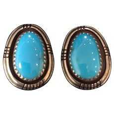 Vintage Signed Natural Turquoise Sterling Silver Southwest Indian / Native American Earrings