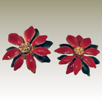 Vintage Red Poinsettia Enamel Statement Christmas Holiday Chunky Jewelry - Earrings