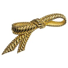Vintage Christian Dior Bow Brooch or Pin in Gold Tone