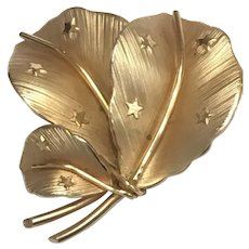 Vintage Gold Tone Leaf Brooch or Pin With Stars