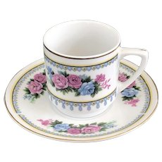 Vintage 1990's Hong Kong Import Demitasse Cup and Saucer with Blue and Pink Roses