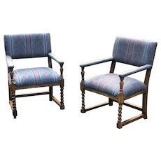 Vintage Pair of Renaissance Revival Barley Twist Flame Stitch Upholstered Arm Chairs--20th Century