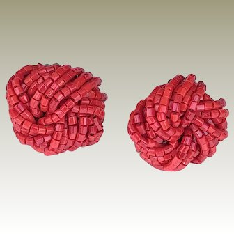 Vintage Rich Red Love Knot Seed Beads Chunky Clip Earrings 1950's-1960's