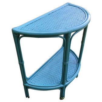 Vintage Blue Bamboo / Rattan Demilune Side Entry Table