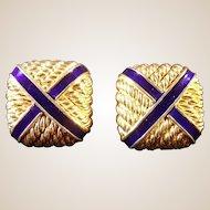 Fine Vintage 18 Karat Gold and Blue Enamel Cufflinks