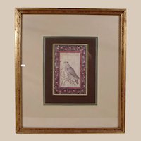 Beautiful Framed Lithograph of a Falcon.