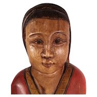 Vintage Large Carved Wood South American Hand Carved and Painted Statue.