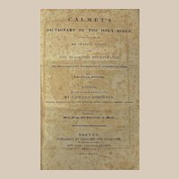 """Book: """"Calmet's Dictionary of the Holy Bible"""" Dated 1832"""