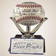 Rare 1995 Wilmington Blue Rocks Teamed Signed Baseball.