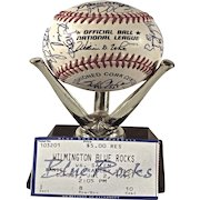 Rare 1995 Wilmington Blue Rocks Teamed Signed Baseball.