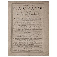 Book: A Decade of Caveats to the People of England, Dated 1679