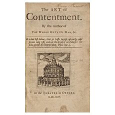 Extremely Rare Antique Book: The Art of Contentment, by Richard Allestree, c1694
