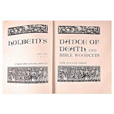 Gorgeous Book: Holbein's Dance of Death with Bible Woodcuts, Large Paper Limited Edition, Dated 1947 - Red Tag Sale Item