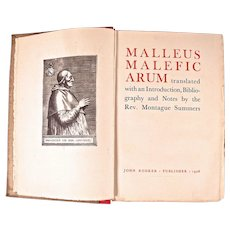 Book:Malleus Maleficarum, Hammer of Witches, Montague Summers, 1928 1st Limited Edition