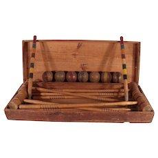 Antique 1890's Victorian Croquet Set In Original Wood Chest