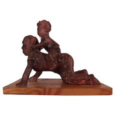 """Charming Vintage Clay Sculpture by blind Chester County Artist Betsy Clayton """"Pony Ride"""