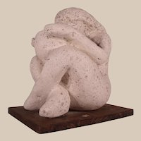 "Wonderful Vintage Plaster Sculpture by Chester County blind Artist Betsy Clayton ""The Source"""