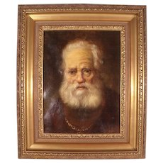 Stunning Antique 18th century Oil painting of Old Scottish Lord by  Fr. Schasing