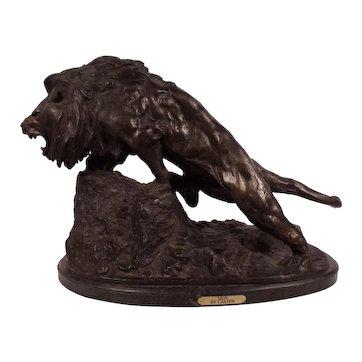 Rare Monumental  Antique CARTIER Bronze Lion Sculpture