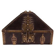Incredibly Rare Continental Bronze-mounted Oak Casket from the 17th Century.