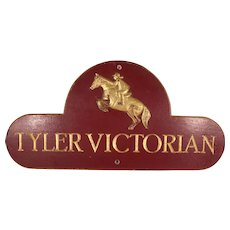 HUGE STOREWIDE SALE!   Vintage Equestrian Hand Carved Wood Sign