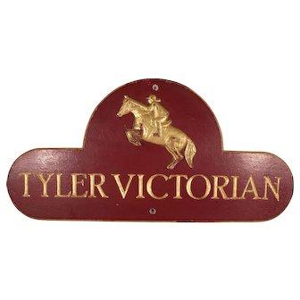 Vintage Equestrian Hand Carved Wood Sign