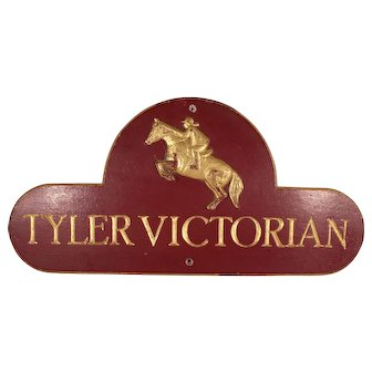 Charming Vintage Equestrian Hand Carved Wood Sign