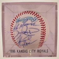 1996 Kansas City Royals Autographed Baseball