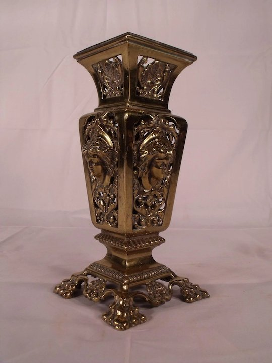 Spectacular Antique Victorian Pierced Brass Flower Vase With Lovely