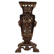 Spectacular Antique Victorian Pierced Brass Flower Vase with lovely lady's Faces