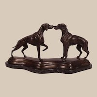 Large c1880's Kissing Dogs Bronze Sculpture