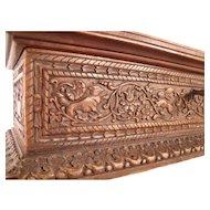 Fine Antique c1840 German Carved Wooden Casket or Glove box