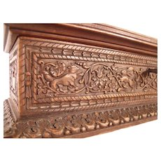 Fine Antique c1840 German Carved Wooden box