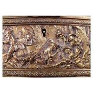 Antique c1870 Long Bronze Repousse English Casket or Glove Box