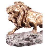 Magnificent Antique French Bronze Lion Sculpture by Jean Descomps