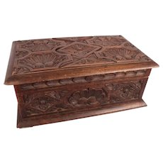 Rock Hudson Estate Large c1850 Renaissance Carved Walnut Chest