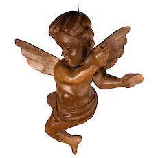 RESERVED FOR LARRY.   Antique Large Hand Carved Italian Wood Putto or Angel