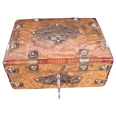 Stunning Early 19th Century Acacia Wood Box with Brass Mounts
