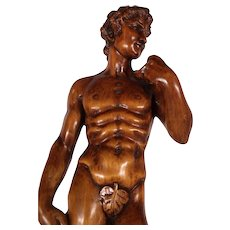 Large 19th Century Hand Carved Wood David Sculpture after Michelangelo