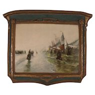 """Antique """"Return of the Fisherman"""" Gesso Art panel by Dura Craft"""