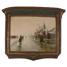 """HOLD FOR TINA   Antique """"Return of the Fisherman"""" Gesso Art panel by Dura Craft"""