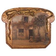 """Lovely Large Antique c1910 Art Nouveau Gesso Art Panel """"Cottage & Well"""""""