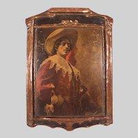 "Striking Antique c1900 Dura Craft Gesso Art Panel ""Cavalier"""