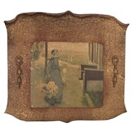 "Antique c1900 Dura Craft Gesso Art Panel ""Flowers For Sale"""
