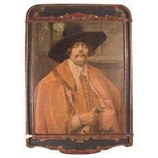 """Antique c1900 Dura Craft Gesso Art Panel """"Cavalier"""" #2"""