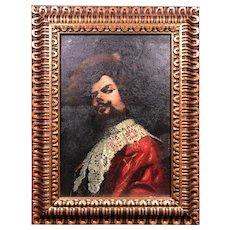 "Antique 18th Century Spanish ""Cavalier"" Oil Painting signed Meserole"