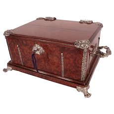 Exceptional Large Alphonse GIROUX Wood Chest with Sterling Mounts