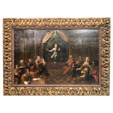 """SALE!  Large 16th Century Old Masters Oil Painting """"Boy King and his court"""""""